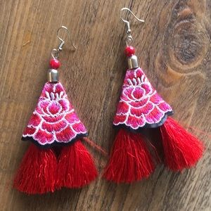 Floral Embroidered Dangle Earrings Multicolor